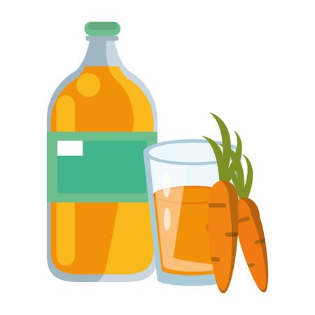 healthy drink juice carrot nature bottle with glass cartoon vector illustration graphic design 일러스트