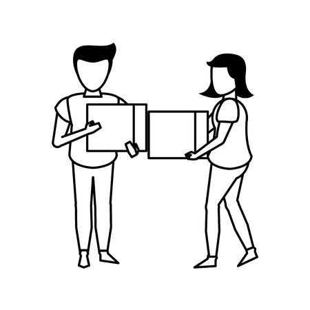 young people woman with man couple holding cube cartoon vector illustration graphic design