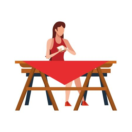 woman eating a sandwich on a picnic table icon over white background, vector illustration