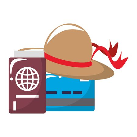 trip around the world symbols with travel itinerary passport and hat isolated symbols Vector design illustration Vectores
