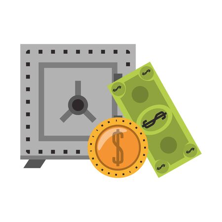 Strongbox with billet and coin isolated vector illustration