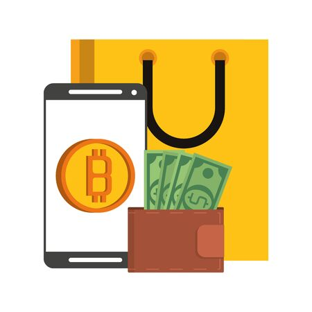Bitcoin cryptocurrency smartphone wallet and shopping bag symbols vector illustration graphic design Иллюстрация