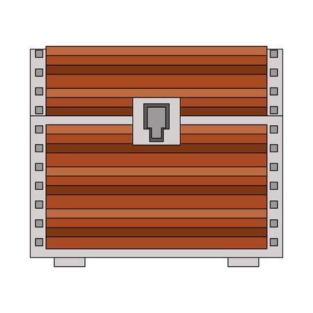 video game pixelated retro art digital entertainment, wooden coffer isolated cartoon vector illustration graphic design