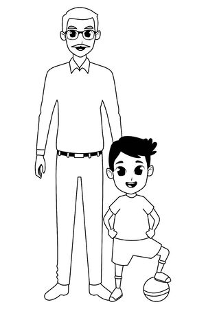 grandson and grandfather with holding hands isolated vector illustration graphic design