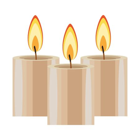 three lit candle icon cartoon isolated vector illustration graphic design Stock Illustratie