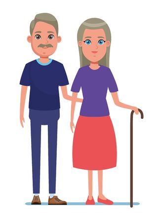elderly people avatar old woman with long hair and cane and old man with mustache profile picture cartoon character portrait vector illustration graphic design Stock Illustratie