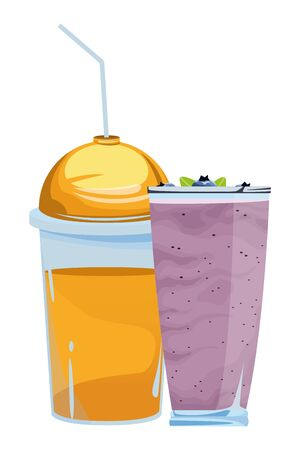 fruit tropical smoothie drink with dome lid, large glass and straw icon cartoon vector illustration graphic design Çizim