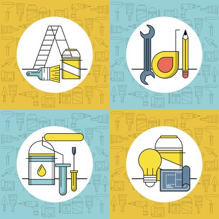 Home improvement and construction tools emblems rounds set vector illustration graphic design