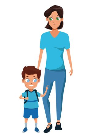 Family single mother with children holding school backpack cartoon isolated vector illustration graphic design Vectores