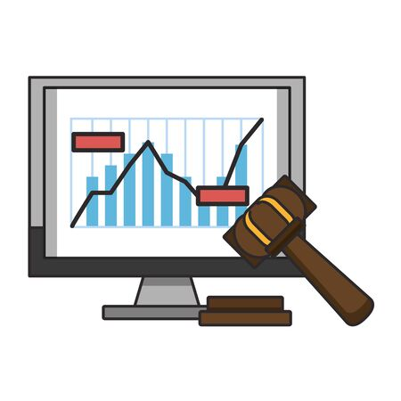 Online stock market investment statistics graph and gavel symbols vector illustration