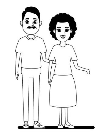 elderly people avatar afroamerican old woman and old man with moustache profile picture cartoon character portrait in black and white vector illustration graphic design Stock Illustratie