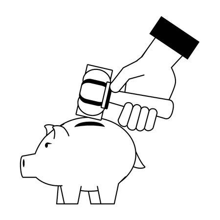Hand using hammer to broke piggy in black and white vector illustration