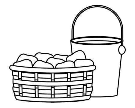 farm, animals and farmer pail and wicker basket icon cartoon in black and white vector illustration graphic design Standard-Bild - 133055310
