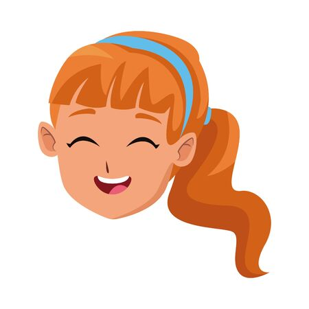 happy girl laughing cartoon icon over white background, vector illustration