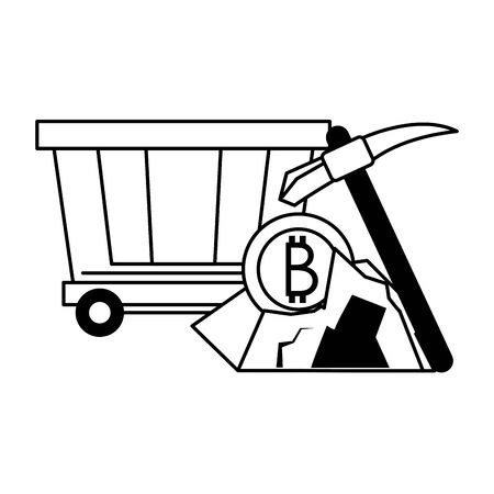 Bitcoin cryptocurrency carrier and mining pick with coin in rocks vector illustration graphic design