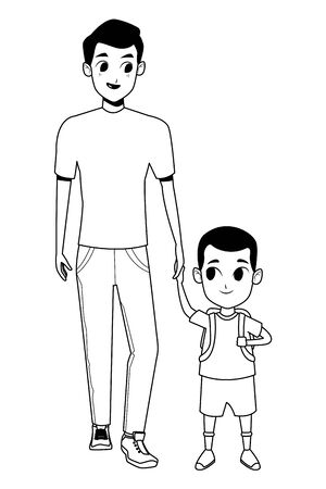 Family single father with kid holding school backpack isolated vector illustration graphic design