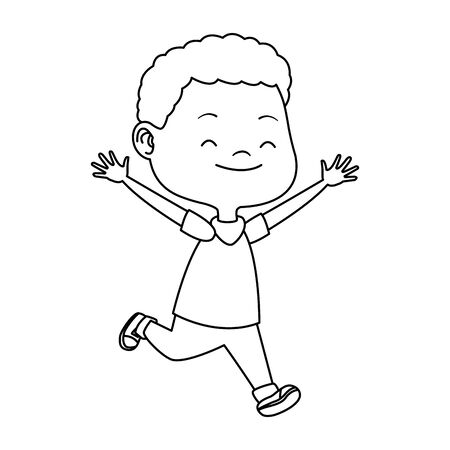 cartoon boy running icon over white background, vector illustration 矢量图像