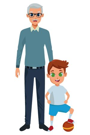 grandson and grandfather with holding hands isolated vector illustration graphic design vector illustration graphic design