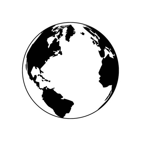 Earth planet icon over white background, black and white design. vector illustration