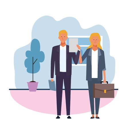 cartoon Businesscouple in the office over white background, colorful design. vector illustration Ilustracja