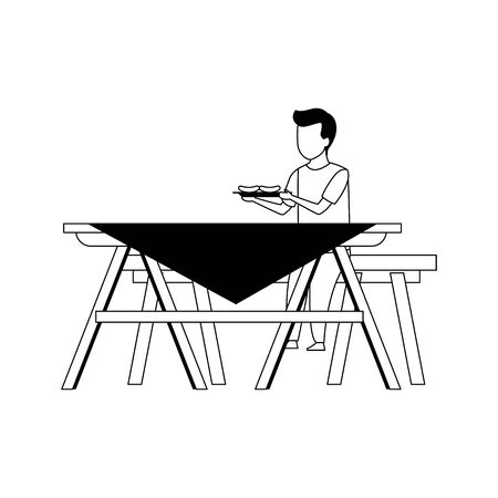 boy with sausages sitting on picnic table icon over white background, vector illustration