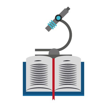 book and microscope icon over white background, vector illustration Ilustração