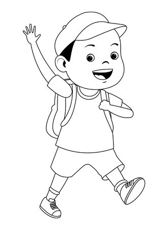 School boy smiling with backpack ,vector illustration graphic design. Illustration