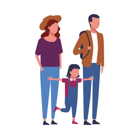 avatar young couple and little girl over white background, colorful design. vector illustration