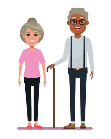 elderly people avatar old woman with bun and afroamerican old man with glasses and cane profile picture cartoon character portrait vector illustration graphic design Stock Illustratie