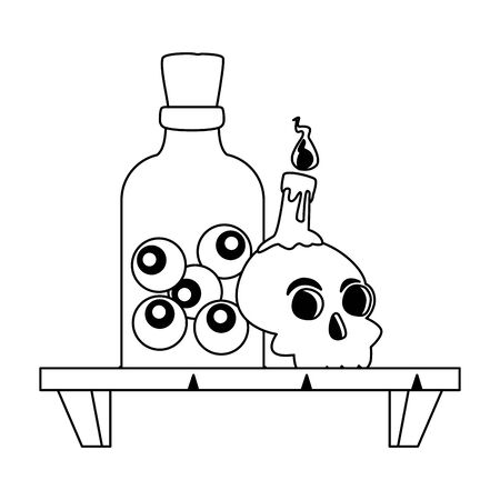 halloween head skull with eyes bottle in shelf vector illustration design