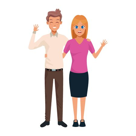 cartoon adult couple waving icon over white background, colorful design. vector illustration Ilustracja