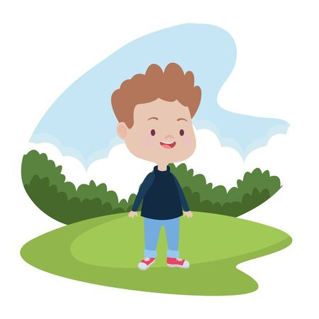 Cute boy children smiling and having fun cartoon at nature outdoors ,vector illustration graphic design.