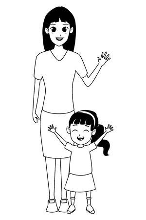 Family single mother with little daughter cartoon vector illustration graphic design Vectores
