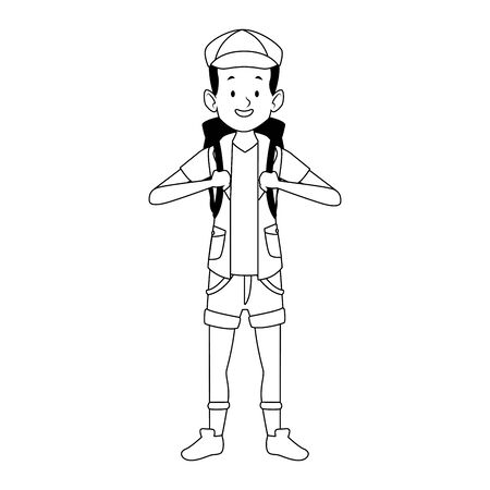 cartoon tourist with travel backpack icon over white background, vector illustration