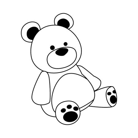 cute teddy bear icon over white background, vector illustration