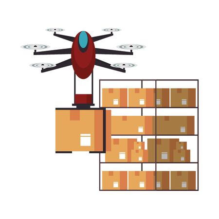 air drone remote control technology device delivery and logistic process with cardboard boxes in merchandise storage cartoon vector illustration graphic design Ilustrace