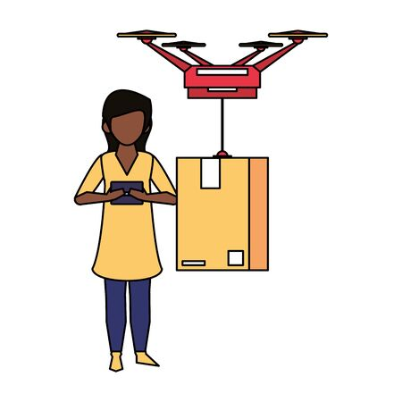 woman using smartphone mobile technology for read chat message from dorne delivery and logistic service cartoon vector illustration graphic design