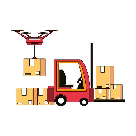 logistic and delivery shipping with drone and forklift technology transport cartoon vector illustration graphic design Ilustrace