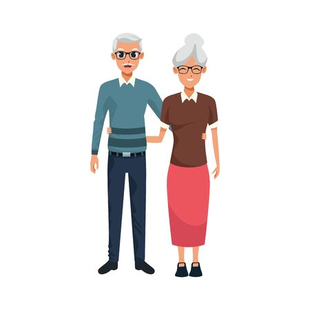 happy old woman and man together over white background, vector illustration Ilustracja