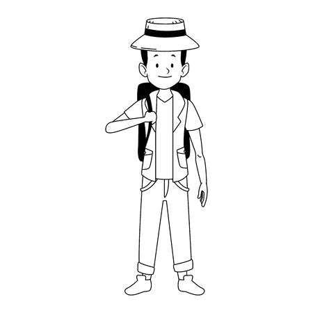 cartoon tourist with beach hat and backpack icon over white background, vector illustration Ilustracja