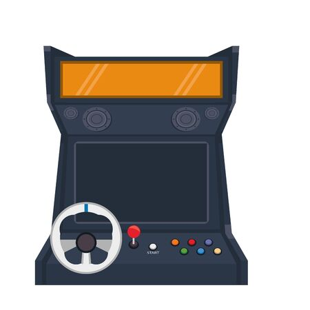 Arcade driver videogame with buttons and steering wheel vector illustration graphic design