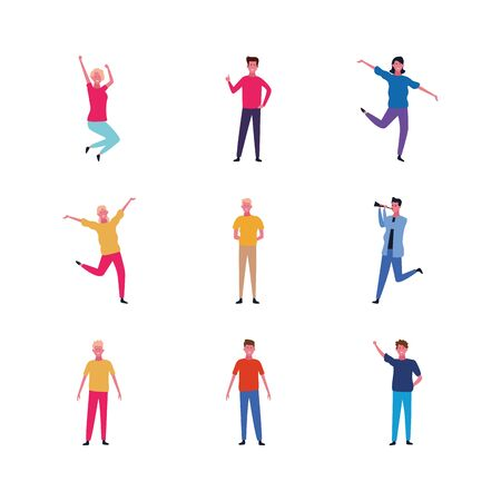 set of cartoon happy people standing over white background, colorful design. vector illustration
