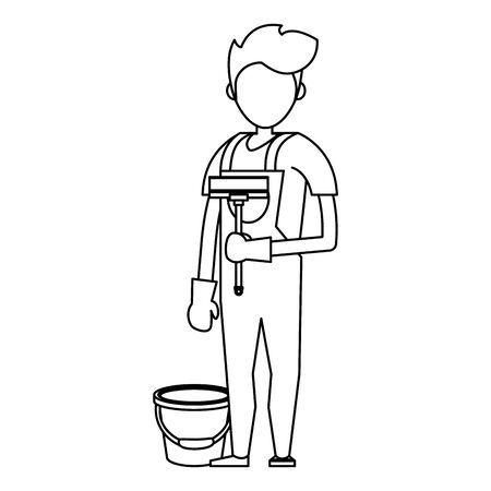 Cleaner worker man smiling with cleaning products and equipment vector illustration graphic design. Stock Vector - 133109041