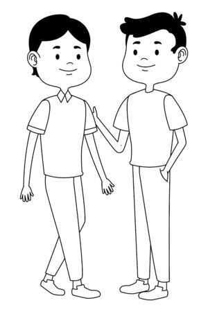 Teenagers male friends greeting and smiling with casual clothes cartoons ,vector illustration graphic design. Stock Vector - 133109044