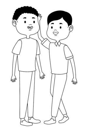 Teenagers male two friends greeting and smiling with casual clothes cartoons ,vector illustration graphic design. Stock Vector - 133109052