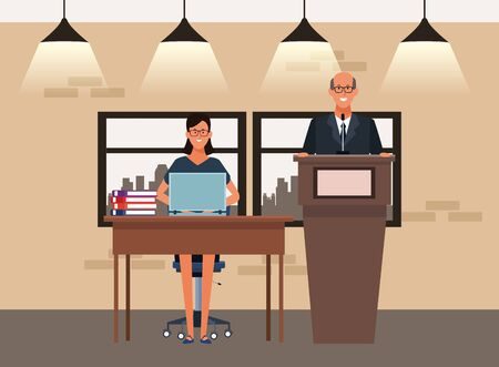 cartoon businessman at conference podium and businesswoman at desk inside office, colorful design. vector illustration
