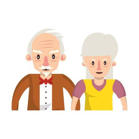 Großeltern senior alte Rentner Großmutter und Großvater Paar lieben Cartoon-Vektor-Illustration-Grafik-Design Vektorgrafik
