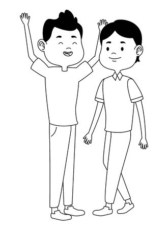 Teenagers male friends greeting and smiling with casual clothes cartoons ,vector illustration graphic design. Stock Vector - 133108336