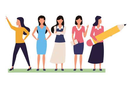 Executive business entrepreneur women teamwork with documents ,vector illustration graphic design.