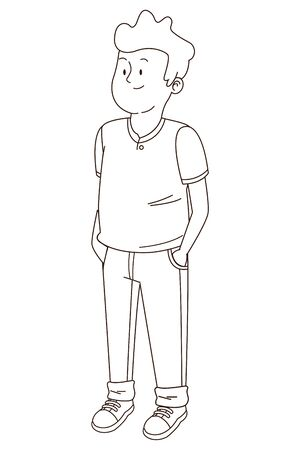 Teenager man smiling and greeting cartoon vector illustration graphic design